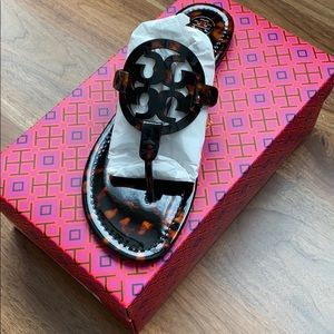 Tory Burch tortoise shell patent miller sandals